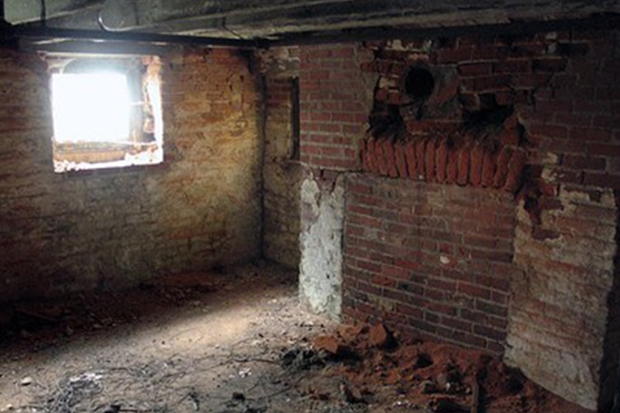 Image inside basement undergoing renovation