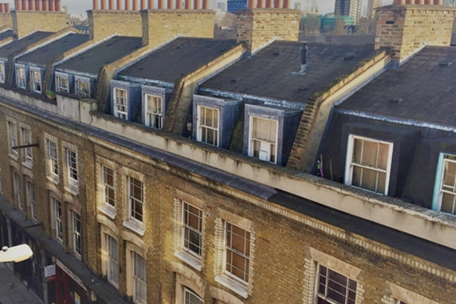terraced houses with party walls, mansard roofs, damp, leaking box gutter