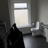 condensation developing from clothes airing in bathroom with window closed