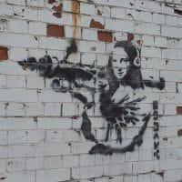 Banksy, Graffiti art on wall, found on survey in London