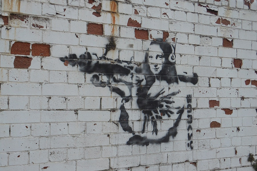 Banksy, Graffiti art on wall, found on survey in London