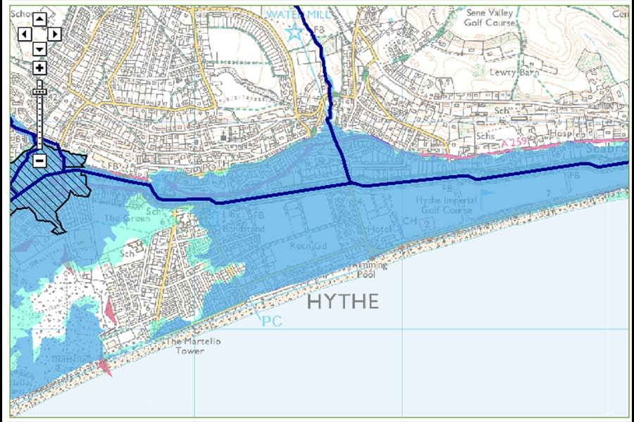 Flooding in hythe kent - Flood map