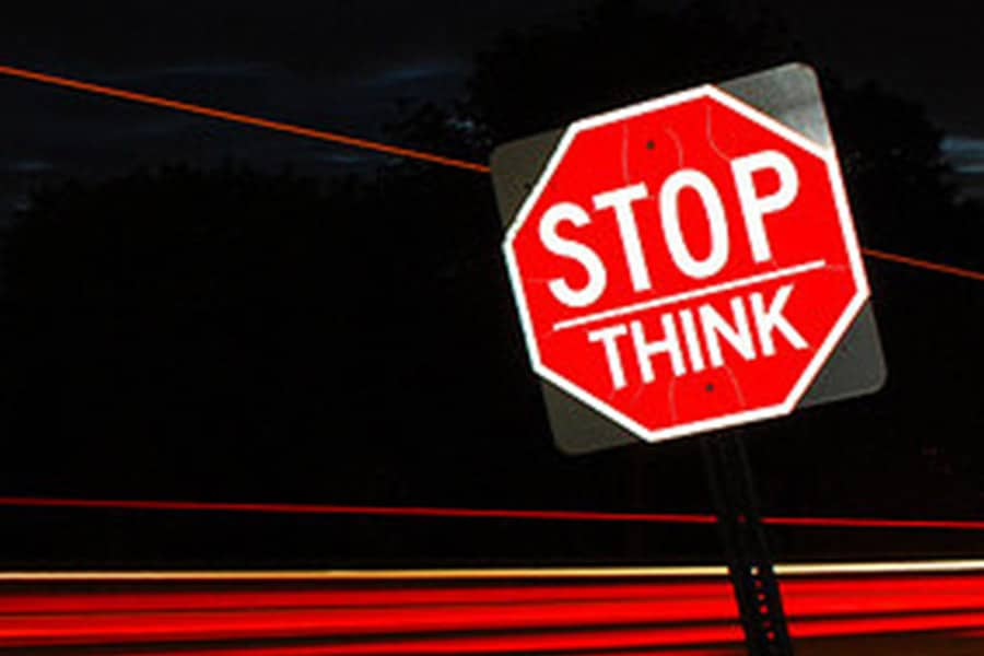 Stop and think sign.