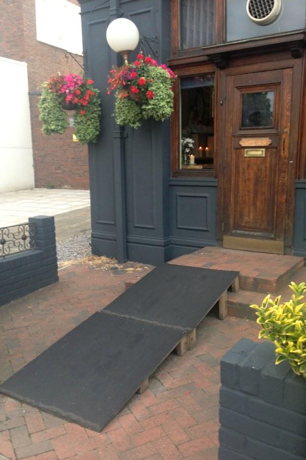 wheelchair ramp into a pub