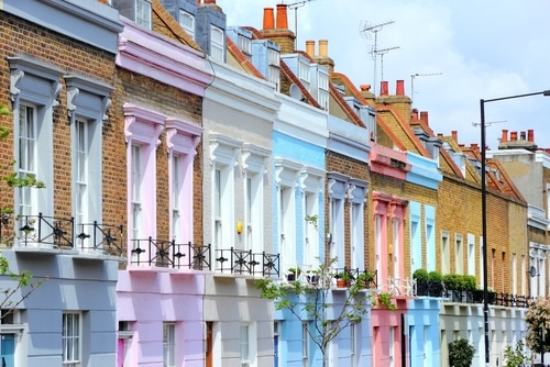 terrace of painted colour houses in london